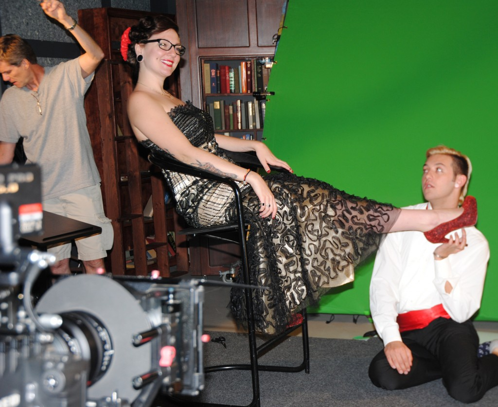 David Butler, the Red Dragon, Meagan Tackett, Mr. Green Screen, Joe Gebbia & the evil red shoe. Photo by Teri Murphy McGinn.